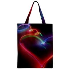Neon Heart Zipper Classic Tote Bag