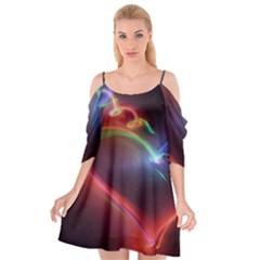 Neon Heart Cutout Spaghetti Strap Chiffon Dress