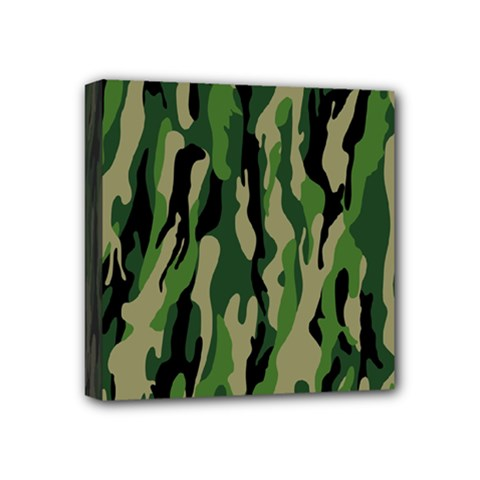 Green Military Vector Pattern Texture Mini Canvas 4  X 4  by BangZart