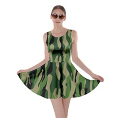 Green Military Vector Pattern Texture Skater Dress