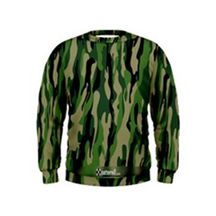Green Military Vector Pattern Texture Kids  Sweatshirt