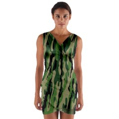 Green Military Vector Pattern Texture Wrap Front Bodycon Dress
