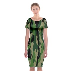 Green Military Vector Pattern Texture Classic Short Sleeve Midi Dress