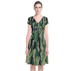 Green Military Vector Pattern Texture Short Sleeve Front Wrap Dress