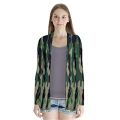 Green Military Vector Pattern Texture Drape Collar Cardigan