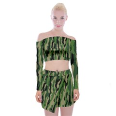 Green Military Vector Pattern Texture Off Shoulder Top With Skirt Set
