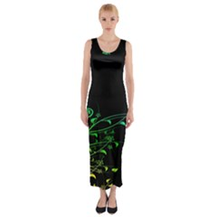 Abstract Colorful Plants Fitted Maxi Dress