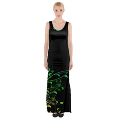 Abstract Colorful Plants Maxi Thigh Split Dress