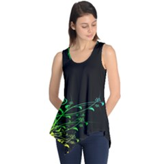 Abstract Colorful Plants Sleeveless Tunic