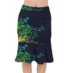 Abstract Colorful Plants Mermaid Skirt