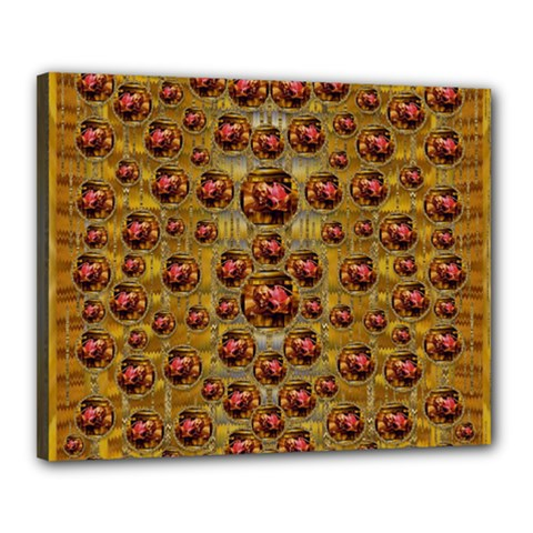 Angels In Gold And Flowers Of Paradise Rocks Canvas 20  X 16  by pepitasart