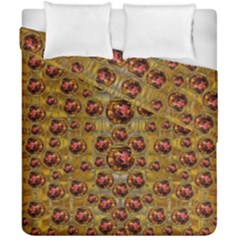 Angels In Gold And Flowers Of Paradise Rocks Duvet Cover Double Side (california King Size) by pepitasart