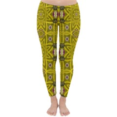 Stars And Flowers In The Forest Of Paradise Love Popart Classic Winter Leggings by pepitasart