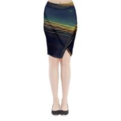 Night Lights Midi Wrap Pencil Skirt by BangZart