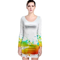 Colorful Abstract Long Sleeve Bodycon Dress
