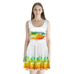 Colorful Abstract Split Back Mini Dress