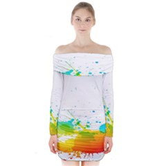 Colorful Abstract Long Sleeve Off Shoulder Dress