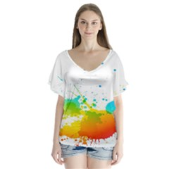 Colorful Abstract Flutter Sleeve Top