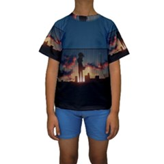 Art Sunset Anime Afternoon Kids  Short Sleeve Swimwear by BangZart