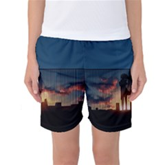Art Sunset Anime Afternoon Women s Basketball Shorts