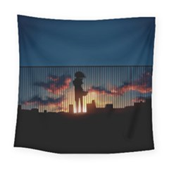 Art Sunset Anime Afternoon Square Tapestry (large) by BangZart