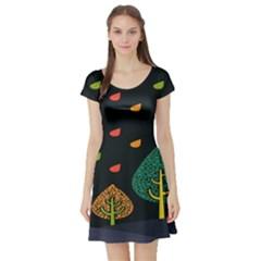 Vector Color Tree Short Sleeve Skater Dress