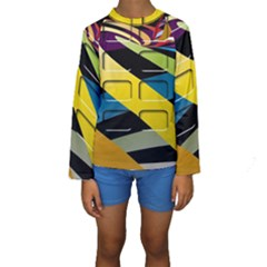 Colorful Docking Frame Kids  Long Sleeve Swimwear