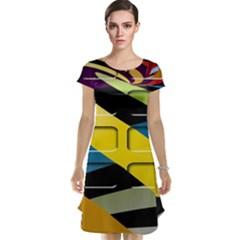 Colorful Docking Frame Cap Sleeve Nightdress