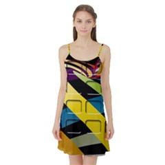 Colorful Docking Frame Satin Night Slip