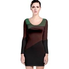 Color Vague Abstraction Long Sleeve Velvet Bodycon Dress