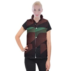 Color Vague Abstraction Women s Button Up Puffer Vest
