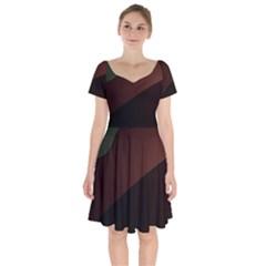Color Vague Abstraction Short Sleeve Bardot Dress