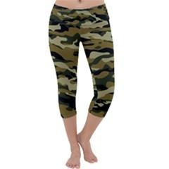 Military Vector Pattern Texture Capri Yoga Leggings