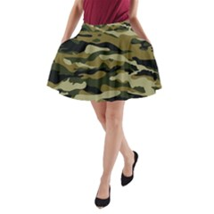 Military Vector Pattern Texture A Line Pocket Skirt