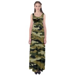 Military Vector Pattern Texture Empire Waist Maxi Dress