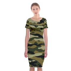 Military Vector Pattern Texture Classic Short Sleeve Midi Dress