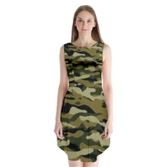 Military Vector Pattern Texture Sleeveless Chiffon Dress