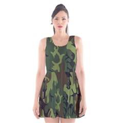 Military Camouflage Pattern Scoop Neck Skater Dress