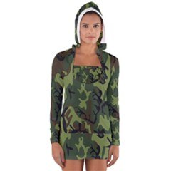 Military Camouflage Pattern Women s Long Sleeve Hooded T Shirt