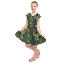 Military Camouflage Pattern Kids  Short Sleeve Dress