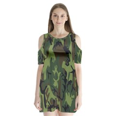 Military Camouflage Pattern Shoulder Cutout Velvet  One Piece