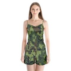 Military Camouflage Pattern Satin Pajamas Set