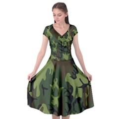 Military Camouflage Pattern Cap Sleeve Wrap Front Dress