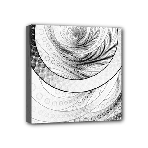 Enso, A Perfect Black And White Zen Fractal Circle Mini Canvas 4  X 4  by jayaprime