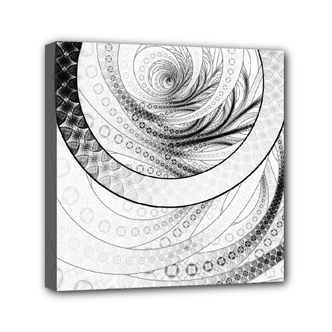 Enso, A Perfect Black And White Zen Fractal Circle Mini Canvas 6  X 6  by beautifulfractals