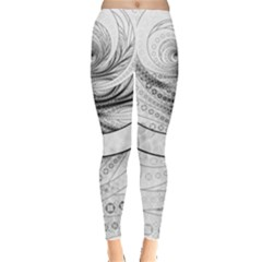 Enso, a Perfect Black and White Zen Fractal Circle Leggings