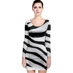 White Tiger Skin Long Sleeve Bodycon Dress