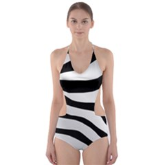White Tiger Skin Cut Out One Piece Swimsuit