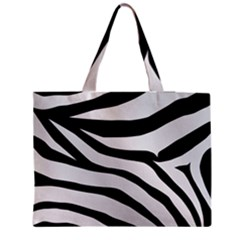 White Tiger Skin Medium Zipper Tote Bag
