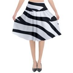 White Tiger Skin Flared Midi Skirt